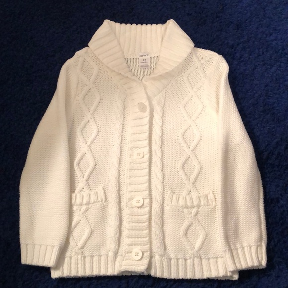fedb0c625cc Carter s White Cable Knit Cardigan